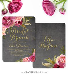 The Etta bridal shower brunch invitation features pretty merlot, burgundy and blush pink watercolor flowers, with gold accents on a chalkboard background. Perfect for brunch with the bride! So classy and elegant.