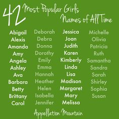 42 Most Popular Girls #babynames in the US since 1880