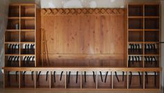 Custom ski locker room with boot dryers by DRY-X Inc Chalet Chic, Ski Chalet, Boot Dryer, Drying Room, Ski Rack, Entry Furniture, Modern Mountain Home, Interior Design Boards, Custom Boots