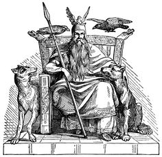 """Odin - the all father ruler of Aesir, Odin is the god of poetry, wisdom, war, and death. He hung for nine days,  on Yggdrasil, the world tree. Here he learned nine powerful songs and eighteen runes. He sacrificed one eye for a single drink from the well of wisdom. His hall in Asgard is Valaskjalf, where his throne Hlidskjalf is located, he observes all that happens in the nine worlds. The tidings are brought to him by his two ravens, Huginn and Muninn (""""thought"""" and """"memory"""").  23.10.2014"""