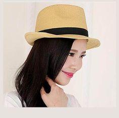 Khaki bow straw sun hat for women summer UV protection fedora hats