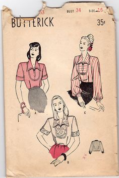 1940s Blouses Vintage Sewing Pattern - Butterick 4146