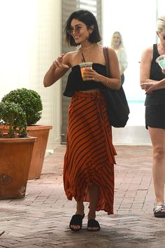 Vanessa Hudgens wearing Longchamp Le Pliage Bag, Faithfull the Brand Suns Out Top and Ray-Ban Rb3547n Oval Flat Lenses Sunglasses in Copper Flash