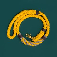 Gorgeous yellow rope leash. Cruiser Rope Leash by Lasso. Marine style dog gear. Nautical rope leash for fashionable dogs. Walk your dog with style.