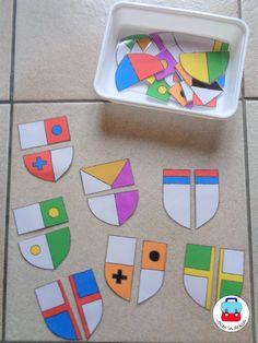 Puzzels wapenschilden. Bij interesse zie website Jolienindeklas