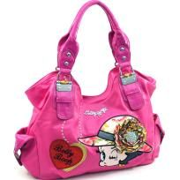 Large Betty Boop® shoulder bag with rhinestone brooch accent - Fuchsia - FREE SHIPPING