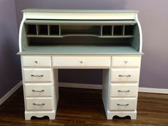 Took an old brown roll-top desk, painted it with chalk paint and changed out the hardware. Refinished Desk, Refurbished Furniture, Upcycled Furniture, Furniture Projects, Desk Redo, Desk Makeover, Furniture Makeover, Painting Old Furniture, Cool Furniture