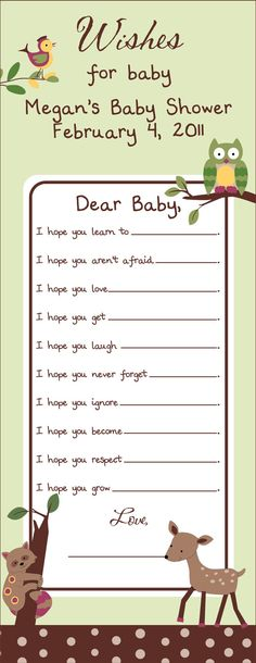 Enchanted Forest DIY Printable Wishes for Baby by BDesigns4You, $10.00