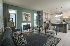 Living Room & Kitchen of Modern New Home Build in Lethbridge, AB. More Photos in Comments [3600x2400] - Imgur