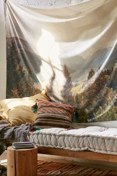 Deny Designs Catherine McDonald For Deny Summer In Montana Tapestry Tapestry Weaving, Wall Tapestry, Textiles, Whimsical Fashion, Linen Bedding, Bed Linens, Bedding Sets, Community Art, Interiores Design