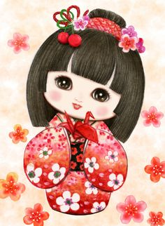 Sweet Geisha Origami - - CANVAS ONLY - Penelope White Canvas, colour printed design. Canvas size X with DMC thread recommendations. Japanese Drawings, Japanese Artwork, Holly Hobbie, Korean Art, Asian Art, Japanese Quilts, Cute Japanese, Japanese Icon, Thinking Day