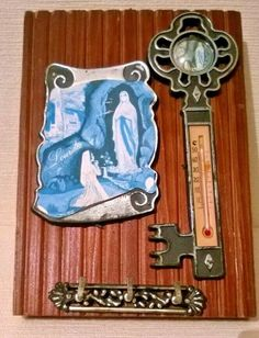 Lourdes Souvenir Key Holder with Thermometer on Wooden Backing Religious Tunbridge Wells, Key Rack, Virgin Mary, French, Ebay, Souvenir, French People, French Language, Blessed Mother