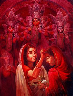 Durga is revered after spring and autumn harvests, specially during the festival of Navratri Durga Maa Paintings, Durga Painting, Lord Ganesha Paintings, Indian Artwork, Indian Art Paintings, Bengali Art, Bengali Culture, Hindu Culture, Durga Puja