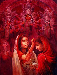 Durga is revered after spring and autumn harvests, specially during the festival of Navratri Durga Maa Paintings, Durga Painting, Lord Ganesha Paintings, Indian Artwork, Indian Art Paintings, Bengali Art, Durga Images, Krishna Art, Radhe Krishna