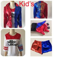 2016 NEW Kid's Suicide Squad Harley Quinn cosplay Costume Outfit Full Set halloween children Christmas gift jacket costumes(China (Mainland))