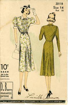 1930s Dress Pattern DuBarry 2011B Bust 32 Pin by CynicalGirl