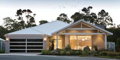 The Semillon by Plunkett Homes - Crellin Place, Margaret Rive, WA. Facade House, House Facades, House Exteriors, Duplex House Design, Storey Homes, Display Homes, House Elevation, House Entrance, Modern House Plans
