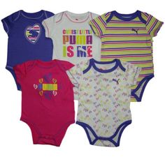Puma Baby Girls 5pc Short Sleeve Bodysuits, Purple, 6-9 Mos - 5 Piece Puma baby girls short sleeve bodysuits set. Easy on/off neckline and snap bottoms for easy diaper changes. - Baby Girls - Apparel - $36.99