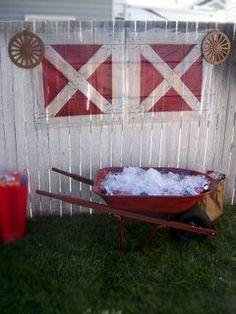 use wheelbarrow as a drink bucket - western/farm party Kinda funny, I'm pretty sure we did this when i was a kid. :D