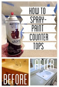 Wonder if it would be considered sacriligeous to paint the avocado green countertops? How to Spray Paint Countertops Spray Paint Countertops, Painting Countertops, Countertop Redo, Diy Countertops, Painting Laminate, Concrete Spray Paint, Spray Paint Cabinets, Rustoleum Countertop, Stone Spray Paint