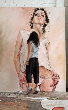 Contemporary figurative artist Philippe Pasqua (b. 1965) painting in his art studio #workspace