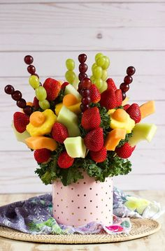 The best gifts are homemade and this Edible Fruit Bouquet couldn't be simpler to make. Blooming with fresh fruit, your friends and family will absolutely LOVE to be on the receiving end of this tasty treat! Ready in minutes and no cooking required!