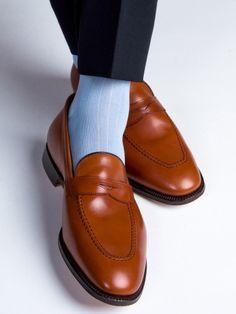 Sky Blue Ribbed Sock Linked Toe Mid-Calf