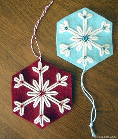 Before the flurry of the holidays begins, I want to share a quick little ornament tutorial to kick off your holiday crafting! I named this First Flake because I love that feeling of excitement when the first flakes of snow fall each winter. This design is Felt Christmas Decorations, Christmas Ornaments To Make, Christmas Sewing, Noel Christmas, Felt Ornaments, Christmas Projects, Felt Crafts, Holiday Crafts, Homemade Christmas