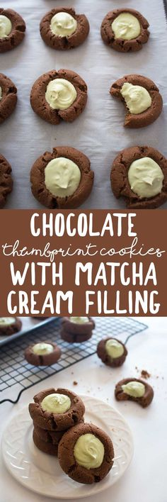 Chocolate Thumbprint Cookies with Matcha Cream Filling - these vegan cookies are simple to make & perfect for any occasion! via @thecrunchychron