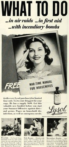 War Time Manual For Housewives ♦ 1942 Ad Lysol Disinfectant