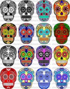 Colorful Sugar Skull Digital Pictures to Print on by ChicKitsch, $2.50