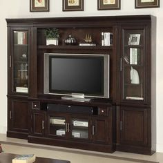 Parker House Stanford Library 4 Piece Space Saver Entertainment Wall Unit in Light Vintage Sherry #dynamichome #parkerhouse #wallunit #entertainmentcenter #tvstand #interiordesign #homedecor #livingroom #greatroom #transitional #traditional #stanford #storage #media #audiovideo