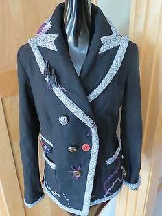 Desigual Women Black & Purple Funky Blazer Jacket SZ 42 Large