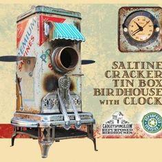 Cracker tin turned awesome birdhouse