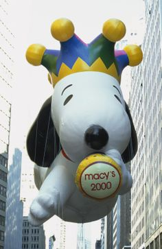 Millenium Snoopy during the 2000 Macy's Thanksgiving Day Parade. The parade was established in the 1920's by first-generation immigrants working at Macy's department store who wanted to celebrate the American holiday of Thanksgiving with the type of balloon festivals they employed in Europe.