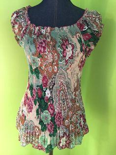 Women's Accordion Pleat XL Shirt Top Floral Short Sleeve Stretchy Top | eBay