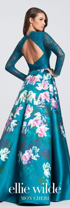 Long sleeve floral print prom dress