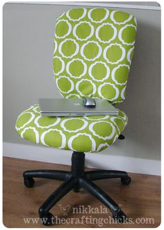 Giving an office chair a facelift (seems easy, if I had the time!)   From The Crafting Chicks (thecraftingchicks.com)