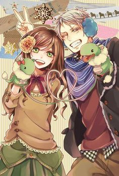 Prussia and Hungary. This picture is creepy, but everybody ships them together....so it was coming.