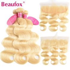 Beaufox 613 Blonde Bundles With Frontal Brazilian Body Wave With Frontal Remy Blonde Human Hair Lace Frontal Closure With Bundle Brazilian Body Wave, Brazilian Hair, Remy Human Hair, Remy Hair, Blonde Color, Hair Color, Long Hair Waves, Wave Hair, Body Wave Weave