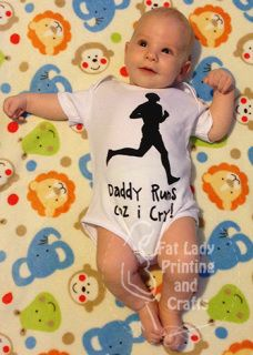 """""""Daddy runs coz I cry"""" Gret for those of us whose other half enjoy running, good excuse for the bubba's tears!  Our onesies are printed to order, we will hand screen print the design onto a cotton onesie, your choice of size from NB right up to size 2, in either long sleeve or short sleeve.  We also currently have a choice of ink colours (red/blue/black) with more options to come soon. Please use the comment box in your checkout if you wish Red or Blue ink, otherwise we will use black…"""