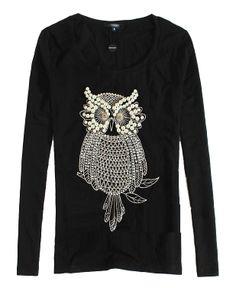 Owl Beads Cotton T-shirt