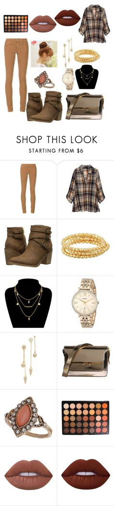 """""""Pumpkin patch outfit"""" by beauty4mommys on Polyvore featuring AG Adriano Goldschmied, Bobeau, Rocket Dog, Gorjana, FOSSIL, Rebecca Minkoff, Marni, Dorothy Perkins, Morphe and Lime Crime"""