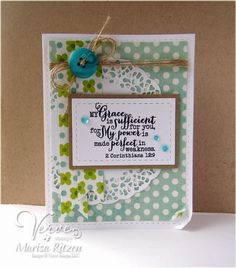 Card by Marisa Ritzen using 2 Corinthians 12:9 from Verve.  #vervestamps