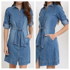 Tie front Jean dress Chic side pocket rolled sleeves tie front Jean dress PLEASE Use the  Poshmark new option you can purchase and it will give you the option to pick the size you want ( all sizes are available) BUNDLE and save 10% ( no trades price is firm unless bundle) Dresses