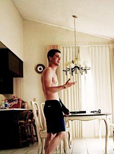 Logan Lerman Shirtless. Coachella 2013