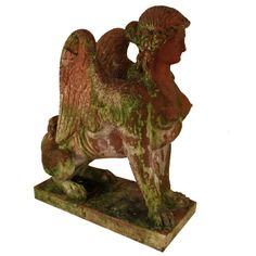 A Naturally Weathered Italian Terracotta Sphinx circa 1880 | From a unique collection of antique and modern statues at http://www.1stdibs.com/furniture/building-garden/statues/