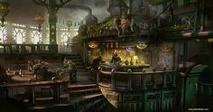 Krodan Mess Hall by TylerEdlinArt Sunderfall alien space tavern bar keep restaurant inn landscape location environment architecture | Create your own roleplaying game material w/ RPG Bard: www.rpgbard.com | Writing inspiration for Dungeons and Dragons DND D&D Pathfinder PFRPG Warhammer 40k Star Wars Shadowrun Call of Cthulhu Lord of the Rings LoTR + d20 fantasy science fiction scifi horror design | Not Trusty Sword art: click artwork for source