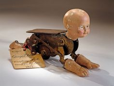 Creeping or Creepy? Creeping Baby Doll Patent Model, 1871 via Siqueira Siqueira Siqueira Spencer Museum of American History, Smithsonian Vintage Bizarre, Creepy Vintage, Creepy Toys, Scary Dolls, Crawling Baby, Patent Drawing, 1 Gif, Ex Machina, Doll Parts