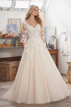 long sleeve wedding dress on sale at reasonable prices, buy Vestidos De Novia Long Sleeve Wedding Dresses V-Neck Crystal Beading Organza 2017 Lace Appliques Open Back A-Line Bridal Dresses from mobile site on Aliexpress Now! Wedding Dress Sleeves, Long Sleeve Wedding, Bridal Wedding Dresses, Dream Wedding Dresses, Lace Sleeves, Lace Bodice, Dress Lace, Long Sleave Wedding Dress, Prom Dresses
